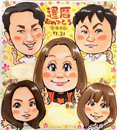 還暦祝いの家族の似顔絵